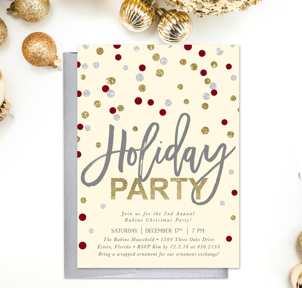 Confetti: Holiday Party Invitation Gold, Silver, Red & Ivory