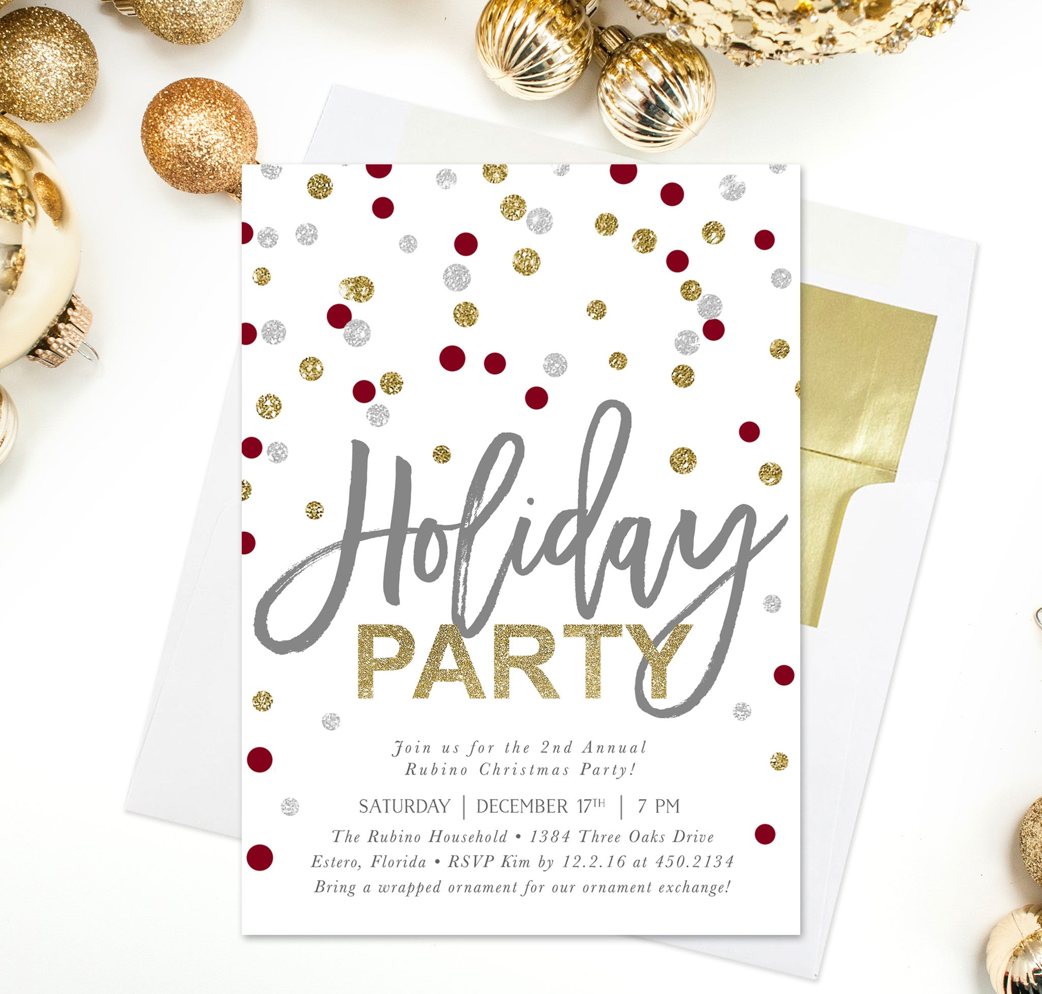 confetti holiday party invitation gold silver red white
