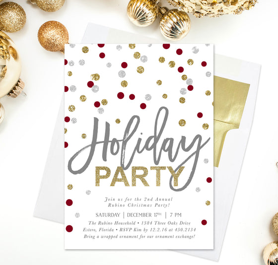 Confetti: Holiday Party Invitation Gold, Silver, Red & White