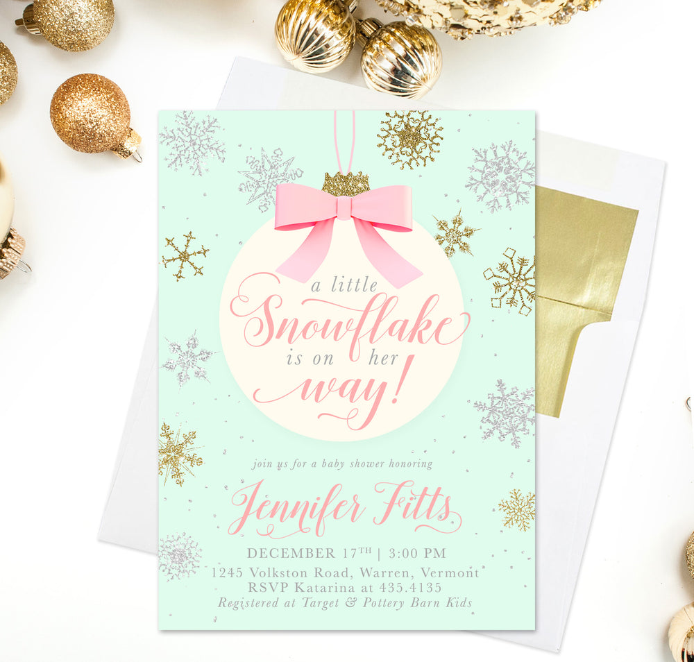 Snowflake is on Her Way!: Baby Girl Winter Holiday Shower Invitation
