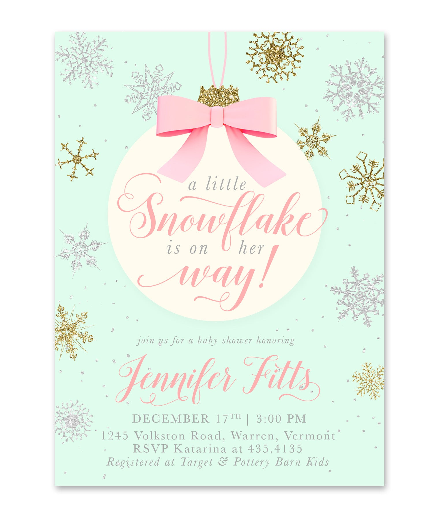 A Snowflake is on Her Way Baby Shower Invitation Gold Silver