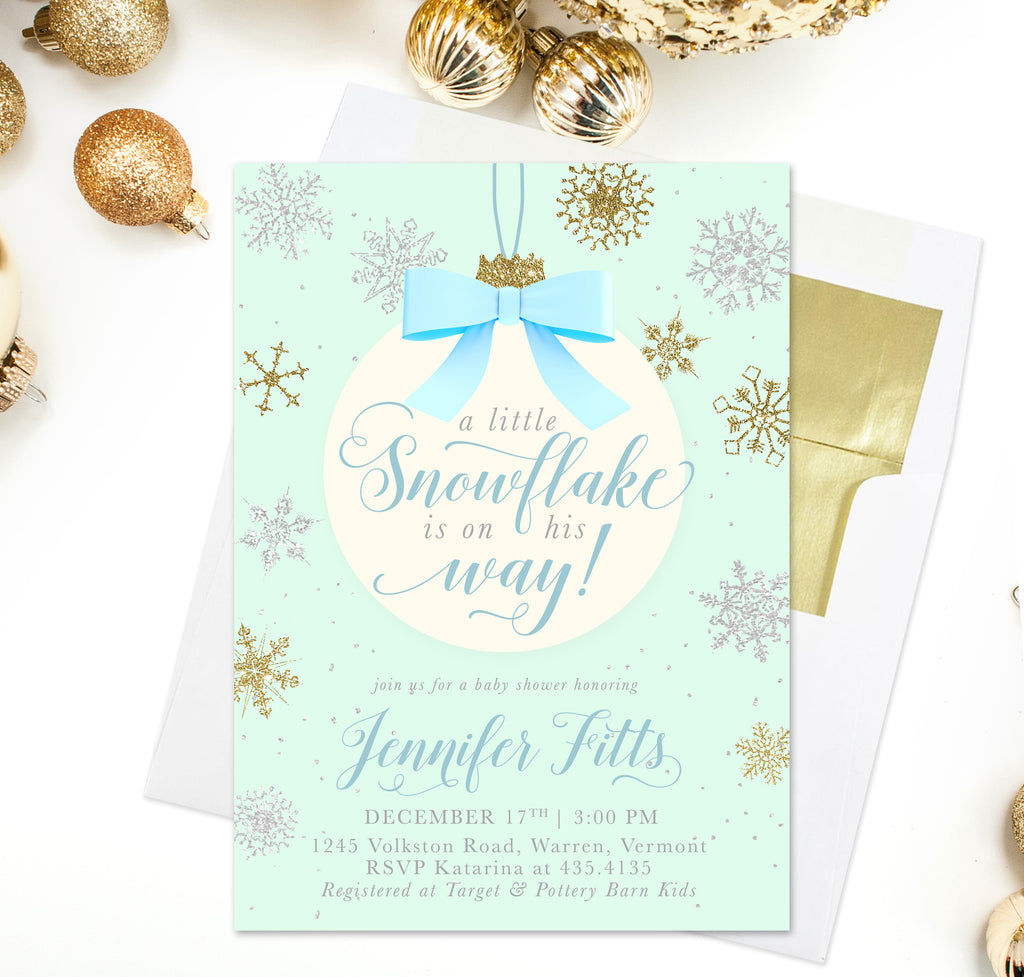 A Snowflake is on His Way!: Baby Boy Winter Holiday Shower Invitation