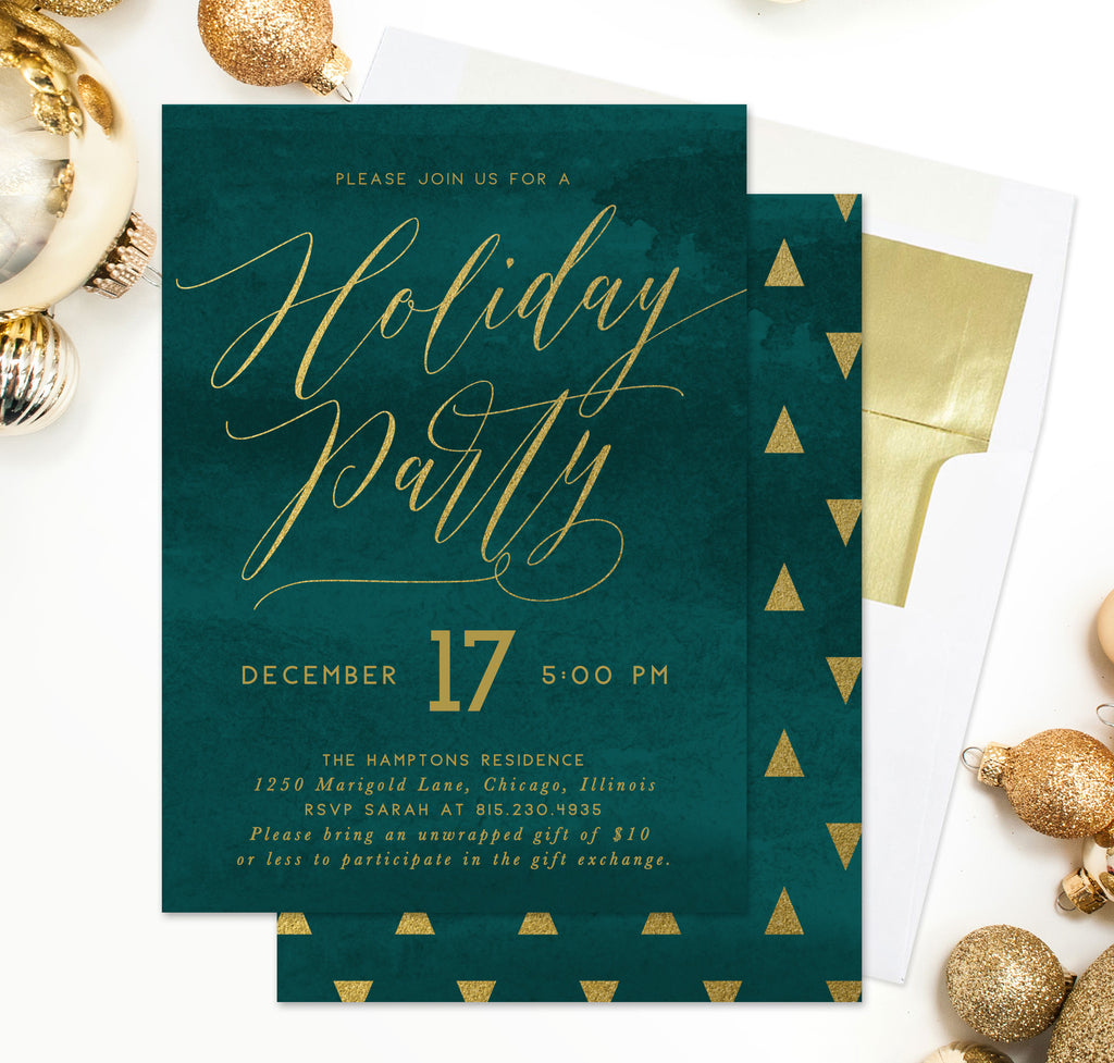 Holiday Party Invitation: Emerald Green & Gold