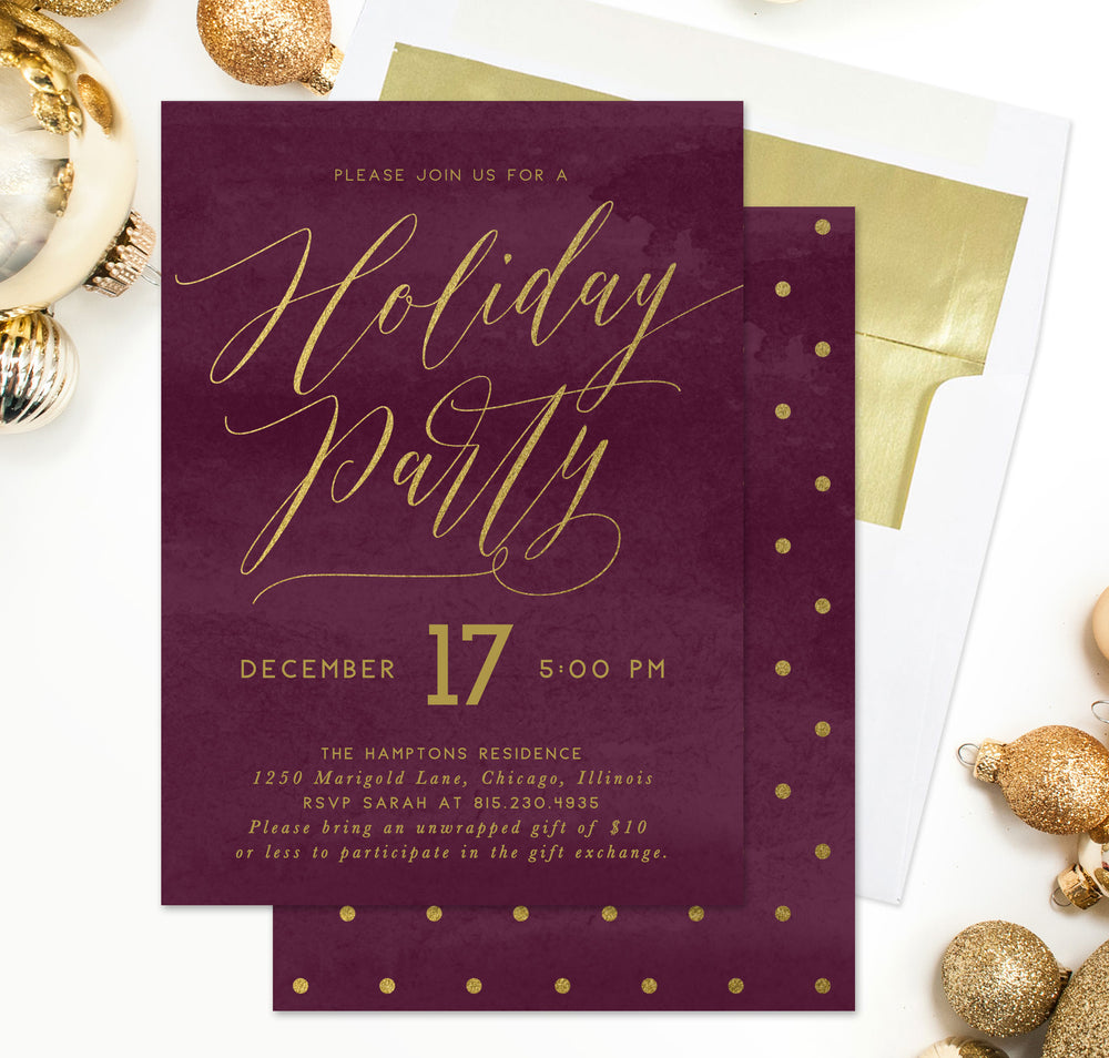 Holiday Party Invitation: Berry Red & Gold