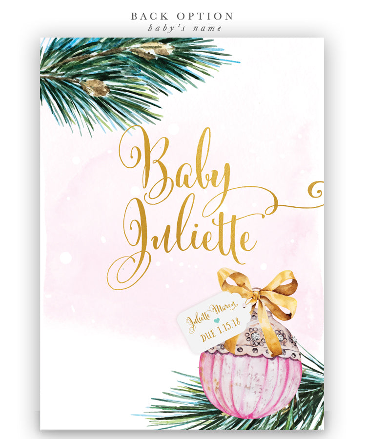 Baby it's Cold Outside: Winter Baby Shower Ornament Invitation, Pink
