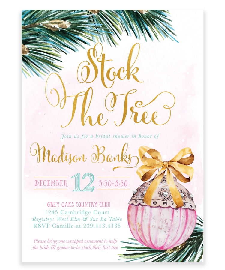Stock the Tree: Holiday Bridal Shower Ornament Invite, Pink