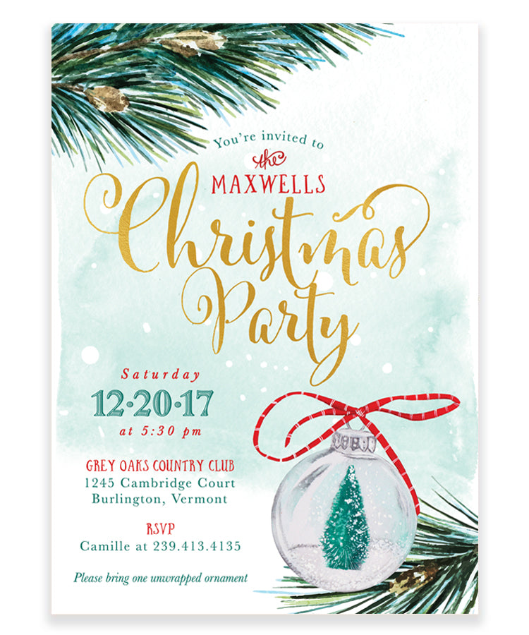 Christmas Party Invitation: Christmas Tree Ornament Invite, Green ...