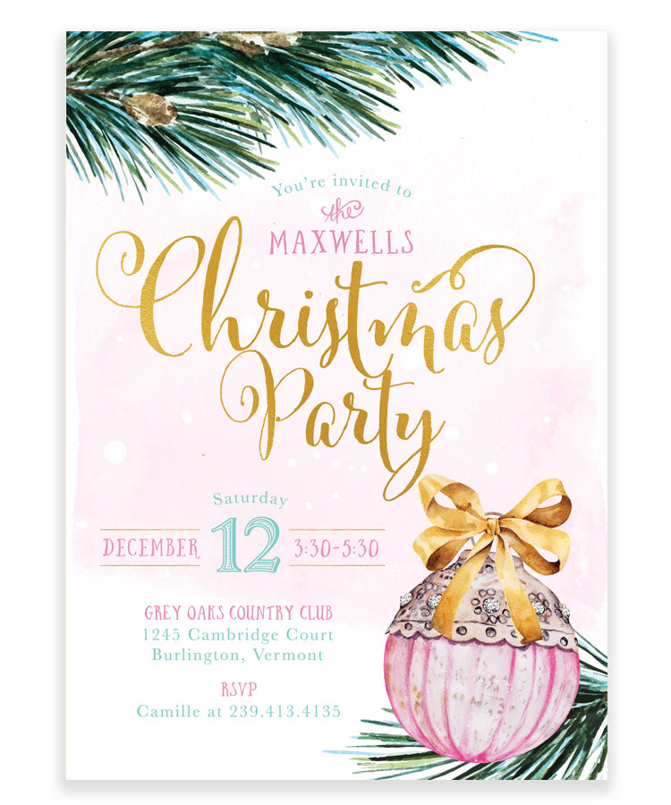 Christmas Party Invitation: Christmas Tree Ornament Invite, Pink