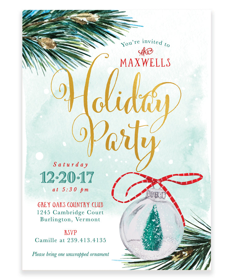 Holiday Party Invitation: Holiday Tree Ornament Invite, Green