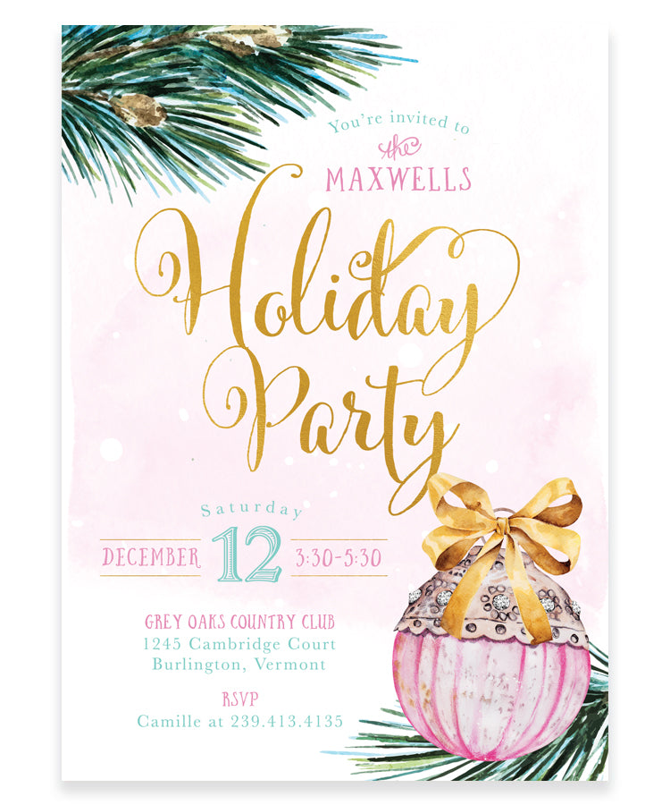 Holiday Party Invitation: Holiday Tree Ornament Invite, Pink