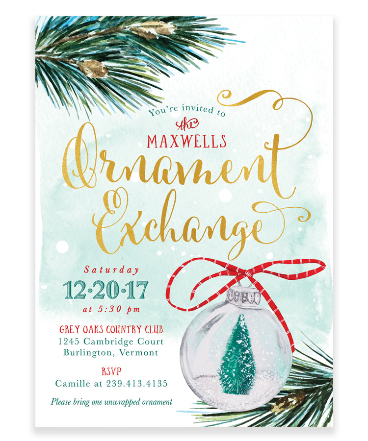Ornament Exchange Party Invitation: Christmas Tree Ornament Invite, Green - Ornament Exchange Party Invitation: Christmas Tree Ornament Invite