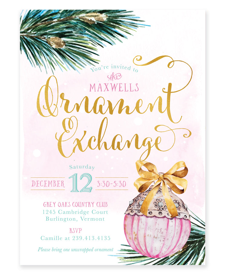 Ornament Exchange Party Invitation: Christmas Tree Ornament Invite, Pink