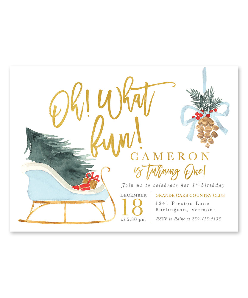 Oh What Fun, Birthday Party Invitation {Blue}