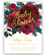 Crimson Holiday Floral Baby Shower Invitation