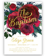 Crimson Floral Holiday Girl Baptism Invitation