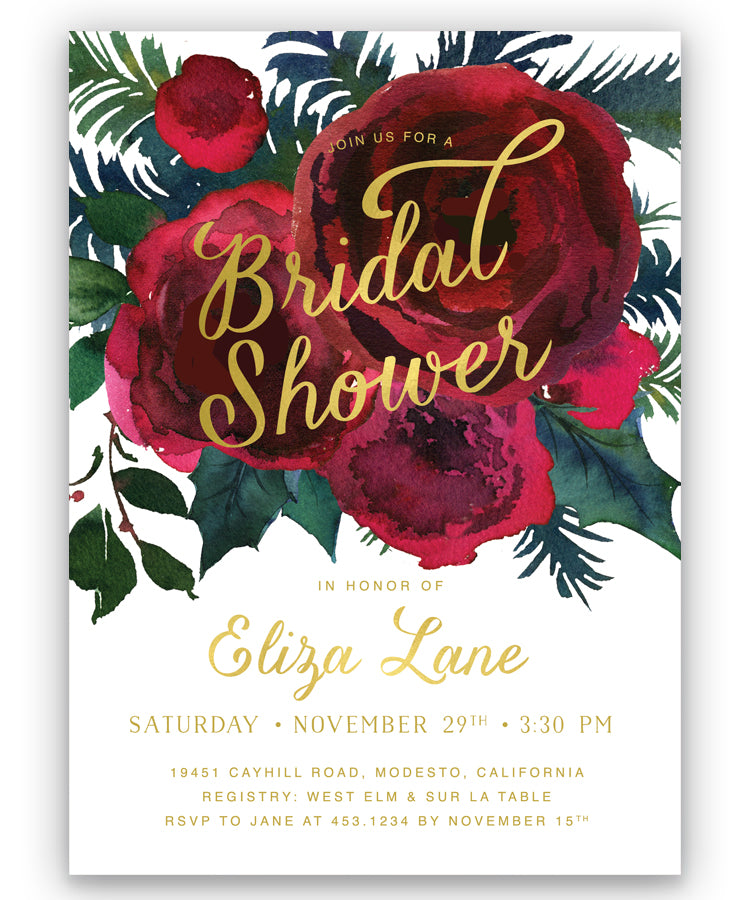 Crimson Floral Holiday Bridal Shower Invitation