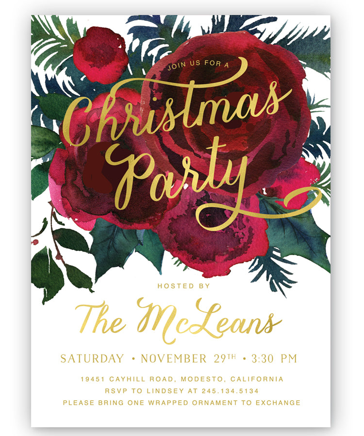 Crimson Floral Christmas Party Invitation