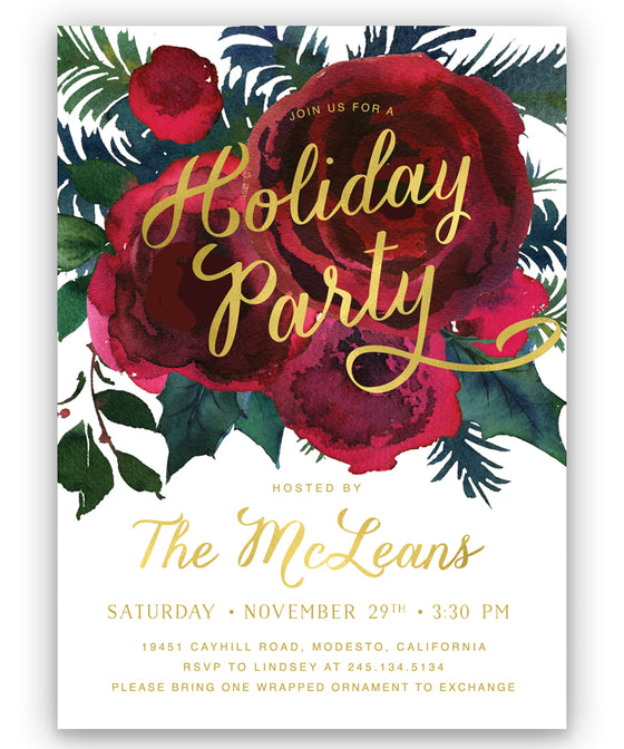 Crimson Floral Holiday Party Invitation