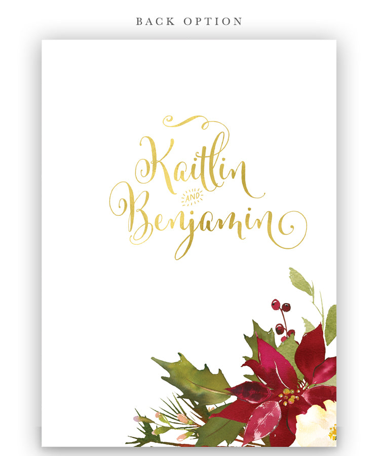 Monograms & Mimosas: Bridal Shower Invitation, Winter Floral Poinsettias