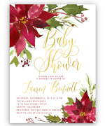 Poinsettia Holiday Baby Shower Invitation