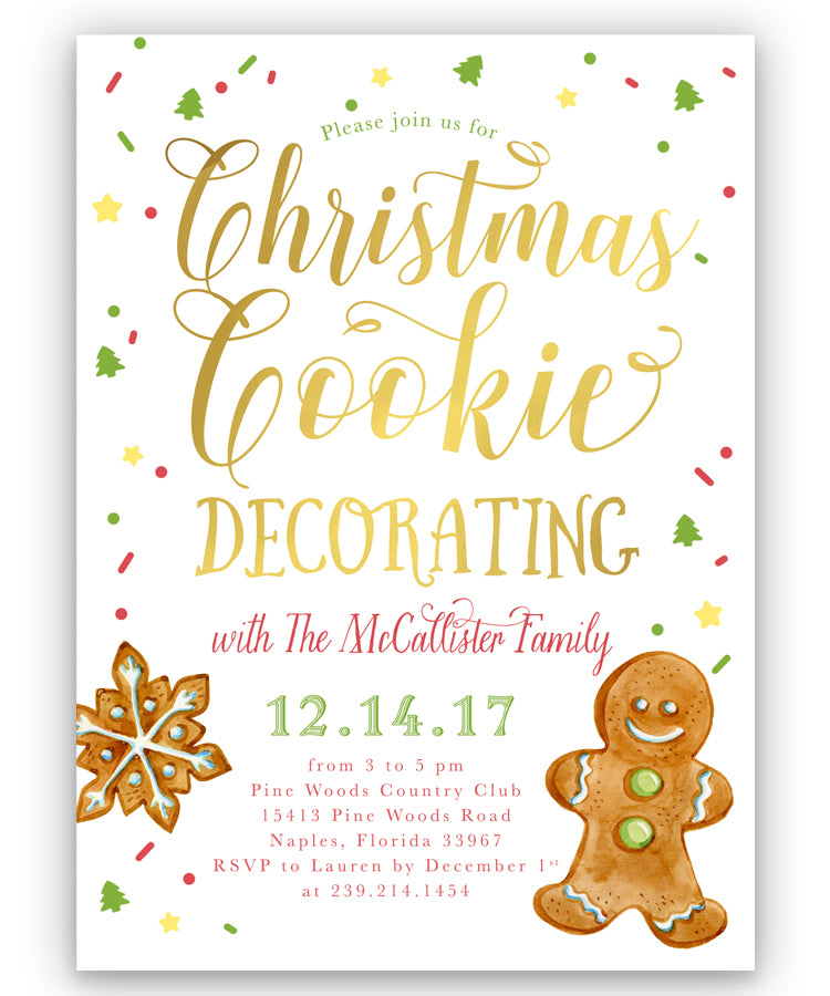 Christmas Cookie Decorating: Holiday Party Invitation