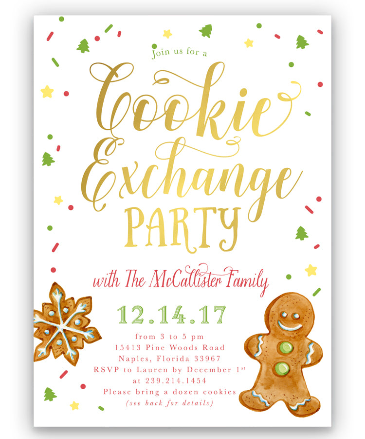 Cookie Exchange Party: Christmas, Holiday Invitation - Sea Paper ...