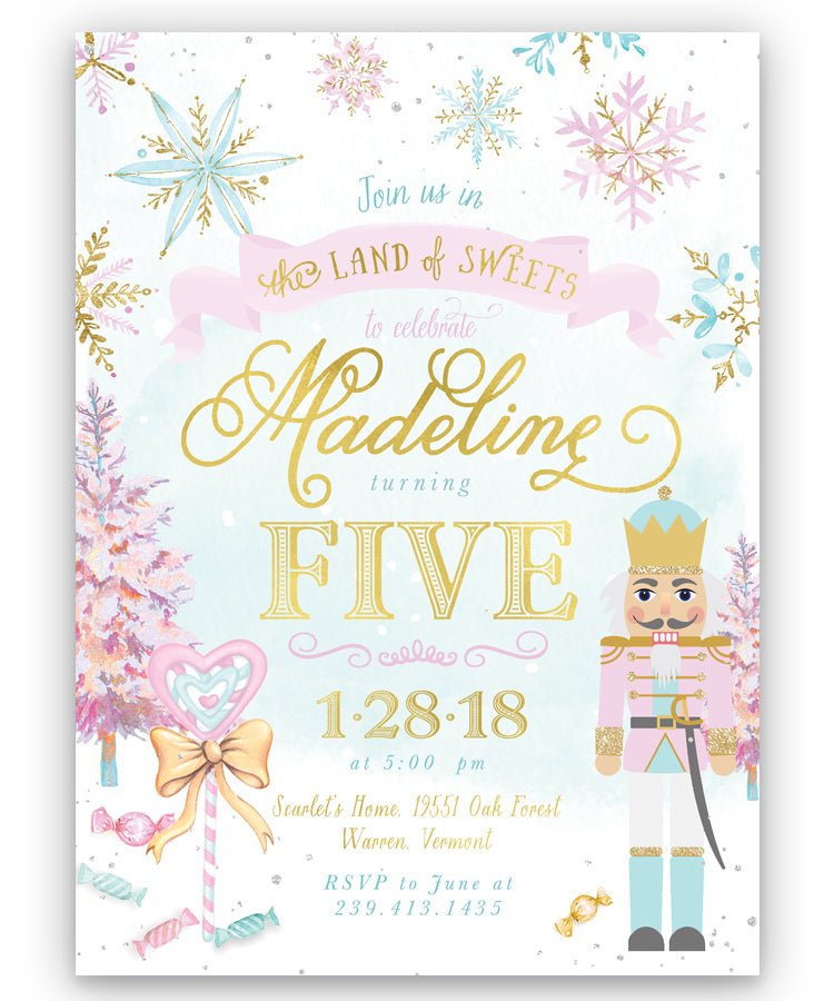 Nutcracker, Land of Sweets: Winter Girl's Any Age Birthday Party Invitation