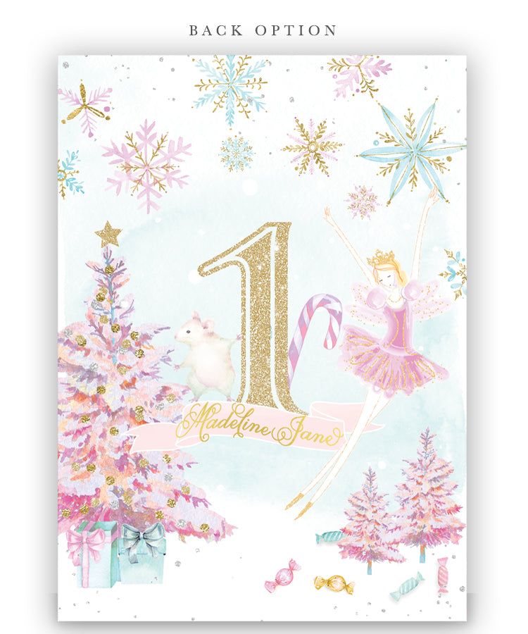 Nutcracker, Land of Sweets: Winter Girl's 1st, First Birthday Party Invitation