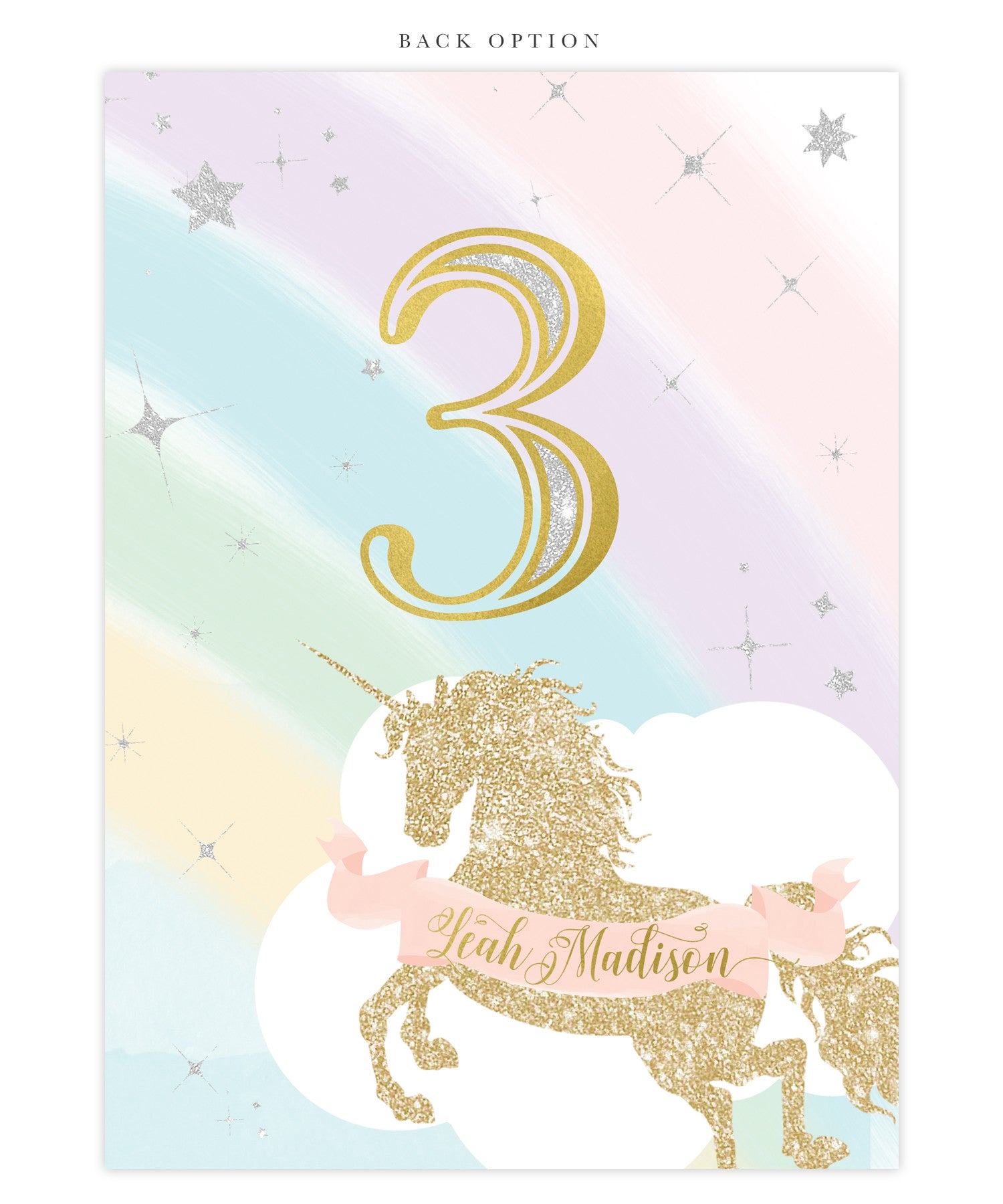 Unicorn Birthday Invitation, Girls Unicorn Rainbow ...