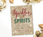Holiday Sparkles & Spirits Invitation, Red, Green & Gold