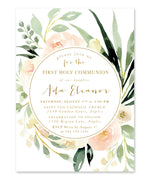 Ada: Floral First Communion Invitation