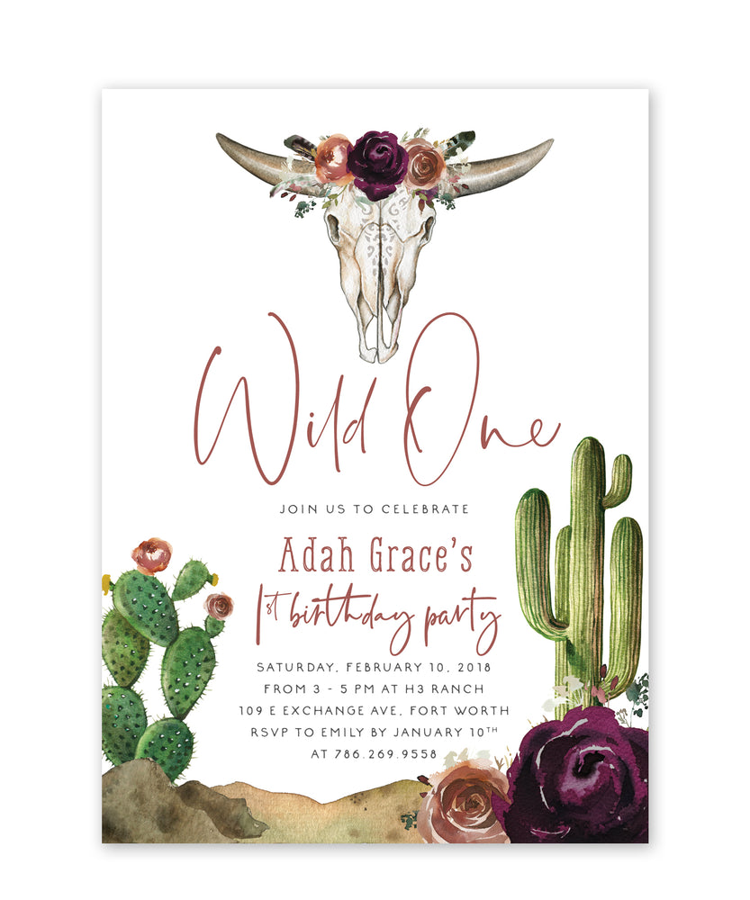 "Adah: ""Wild One"" Girls Birthday Invitation"