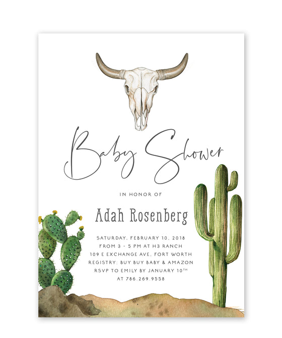 Adah: Southwestern Cactus Baby Shower Invitation