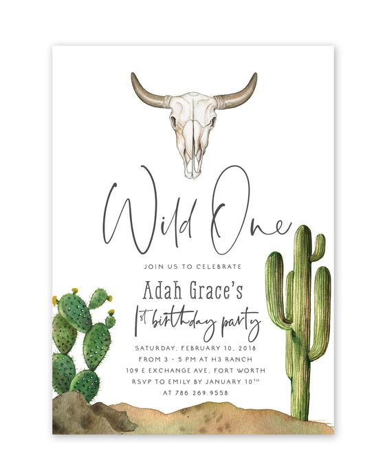 "Adah: ""Wild One"" Birthday Invitation"