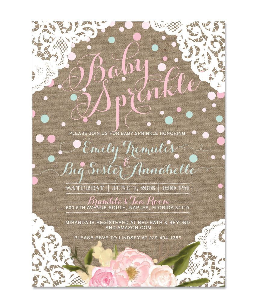 Addie: Shabby Chic Baby Sprinkle Invitation with Lace, Flowers & Burlap