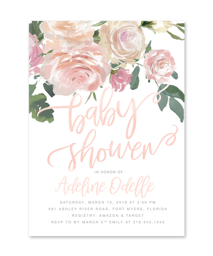 Adeline: Girl Baby Shower Invitation