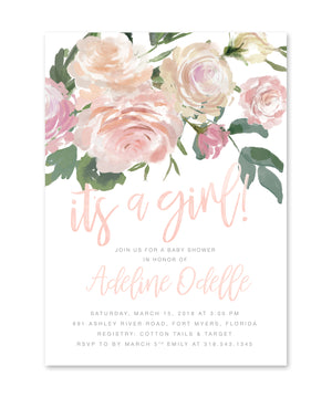 Adeline: It's A Girl Baby Shower Invitation