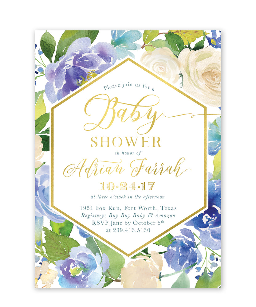 Adrian: Blue Floral Baby Shower Invitation