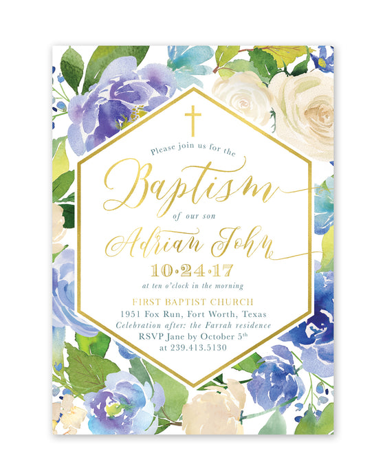 Adrian: Blue Floral Baptism Invitation