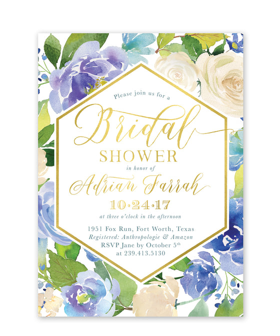 Adrian: Blue Floral Bridal Shower Invitation