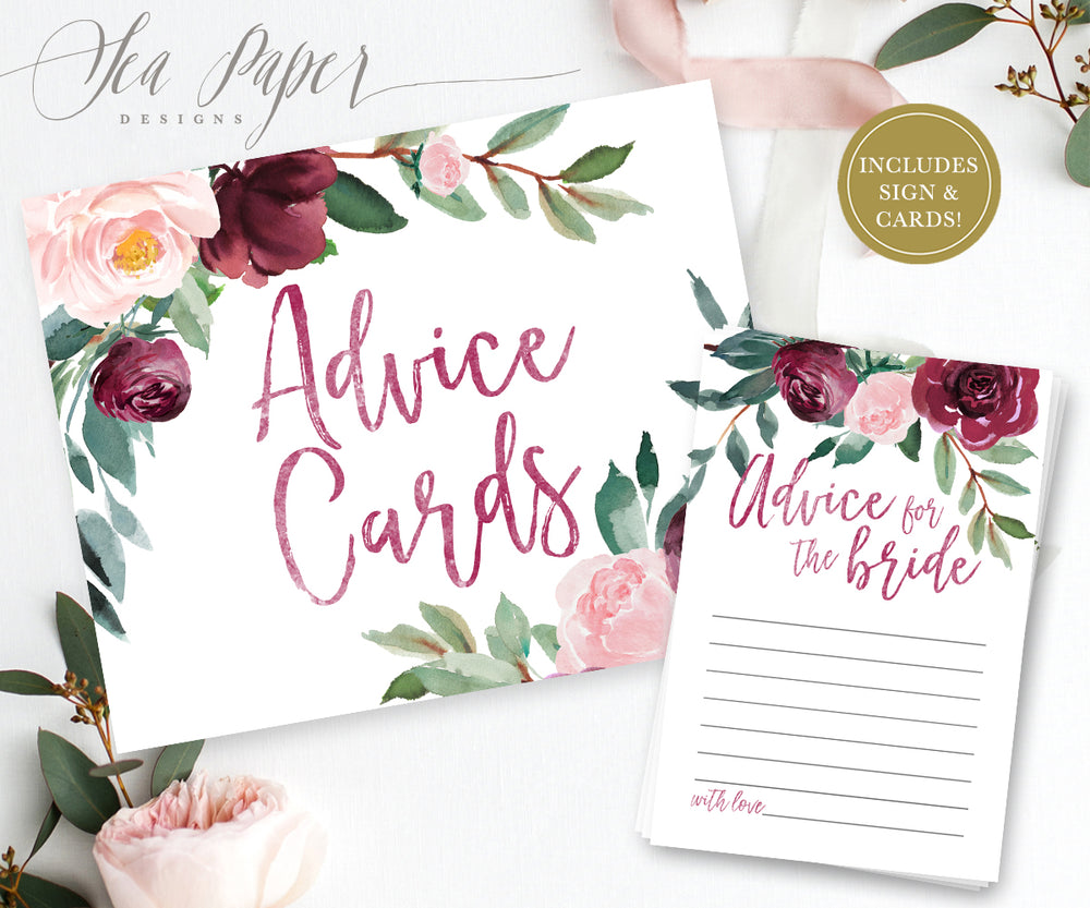 Odette: Advice for The Bride Cards {Burgundy}