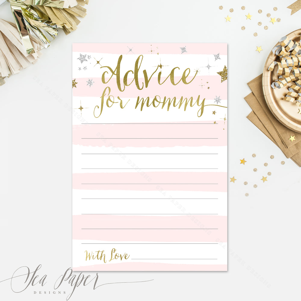 Star: Advice for Mom Cards {Pink Stripe}