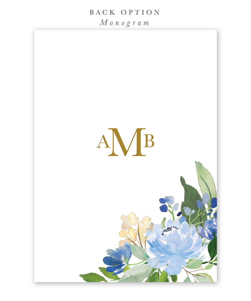 Asher: Blue Floral Baby Shower Invitation