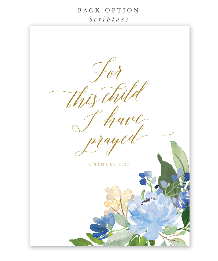 Asher: Blue Floral Baptism Invitation