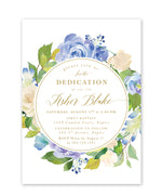 Asher: Blue Floral Dedication Invitation