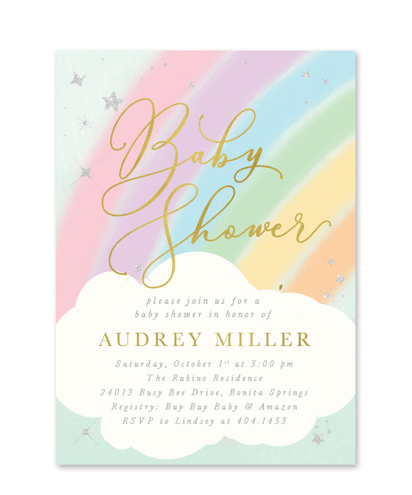 Audrey: Rainbow Baby Shower Invitation