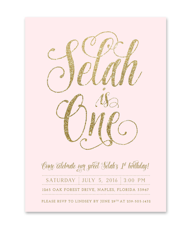Ava: Girl's Birthday invitation, Blush Pink & Gold Glitter, First Birthday Invite