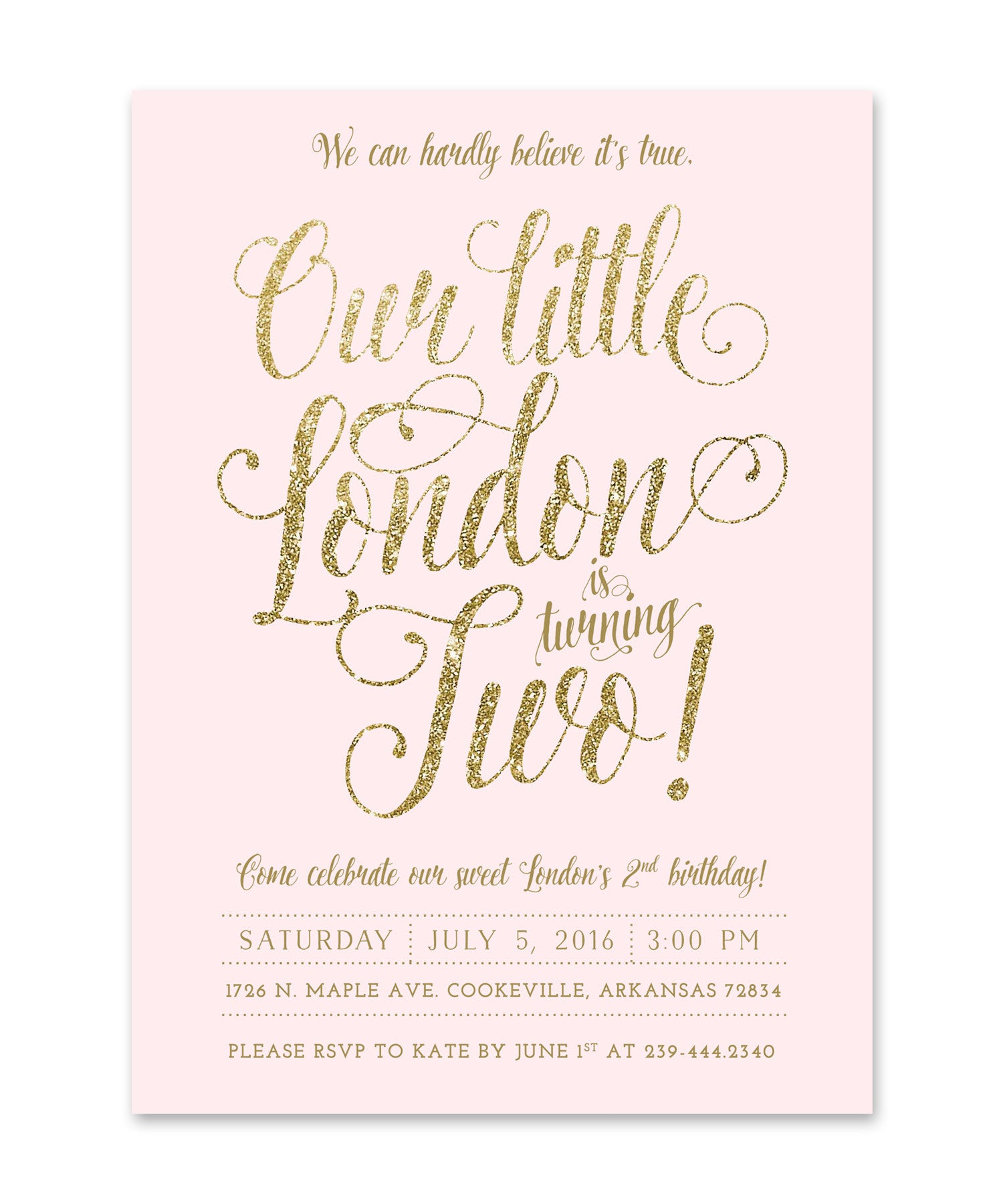 ava girl s 2nd birthday invitation blush pink gold glitter sea