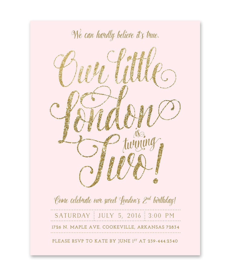 Ava: Girl's 2nd Birthday invitation, Blush Pink & Gold Glitter