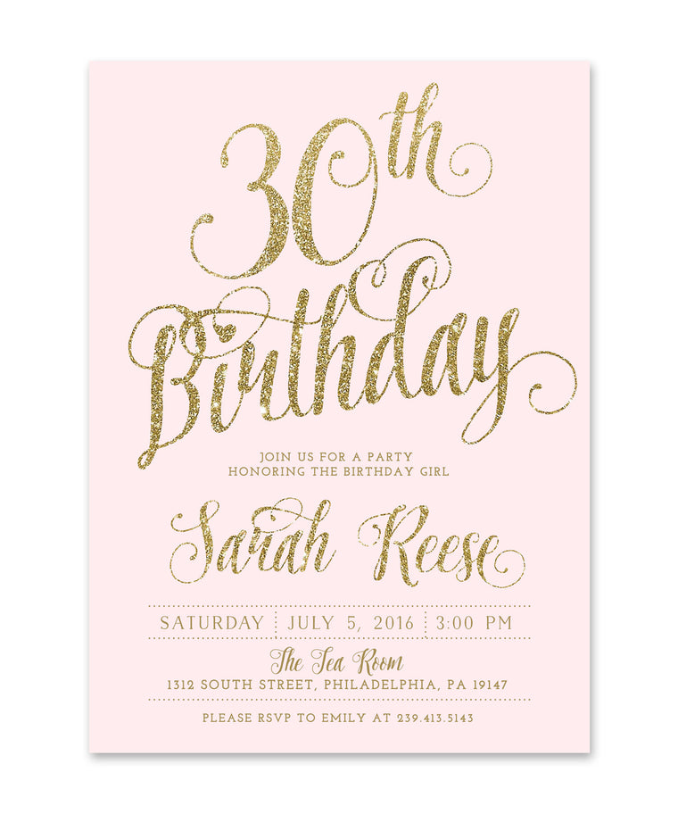 Ava: Birthday invitation, Blush Pink & Gold Glitter - Milestone Birthday Invite